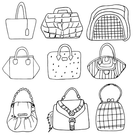 creative pictures: Set of nine hand drawn fashion woman bags collection in urban style Illustration