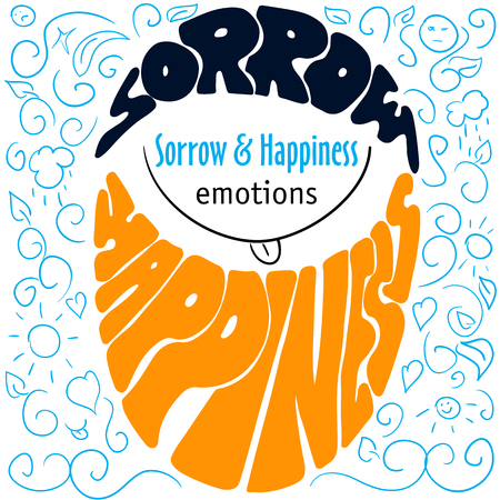 title emotions: Hand drawn typography poster design with emotions silhouette and labels sorrow and happiness, dark cyan and orange letterings on blue sketch background with title