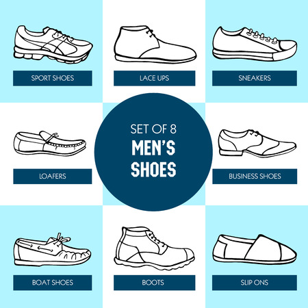 men's shoes: Vector graphic set of hand drawn mens shoes in black and white colors. Beautiful illustration of stylish accessories for your design on squares background. Illustration