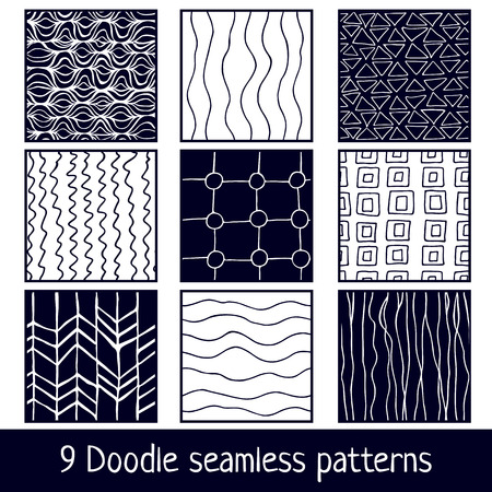 black lines: Set of nine Hand drawn seamless dark cyan and white simple style patterns for your design Illustration