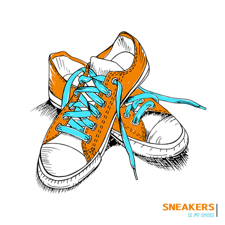 teenager: Colored hand drawn funky gumshoes skateboard fashion urban sneakers in orange and blue colors with title Sneakers is my shoes, vector illustration