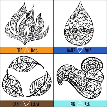 Hand getrokken vector vier elementen van de natuur - vuur, lucht, aarde, water in zwarte en witte kleuren met titels en symbolen Stock Illustratie
