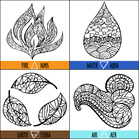 Hand drawn vector four elements of nature - Fire, air, earth, water in black and white colors with titles and symbols
