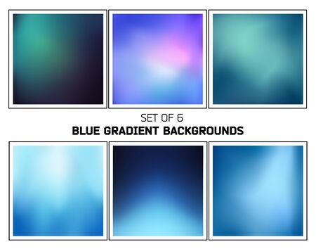blend: Set of six abstract blue and cyan cold smooth blurred gradients vector backgrounds for design