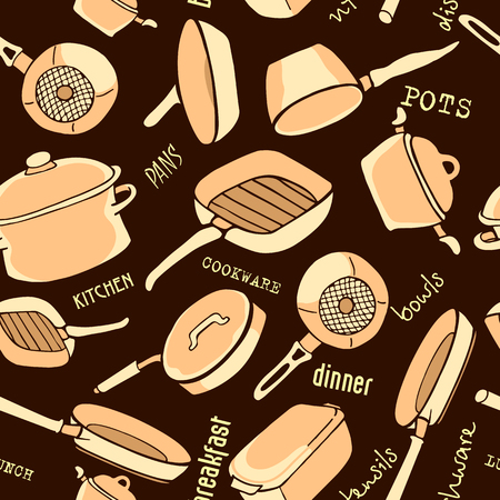 cookware: Seamless pattern of kitchen utensils with titles. Cookware, home cooking background in beige and brown colors. Kitchenware. Modern design. Vector illustration.