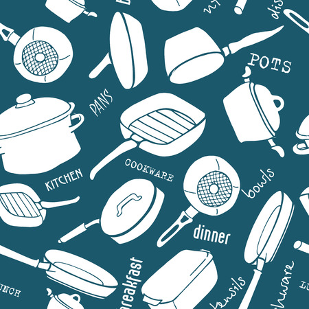 blue white kitchen: Seamless pattern of kitchen utensils with titles. Cookware, home cooking background in blue and white colors. Kitchenware. Modern design. Vector illustration. Illustration