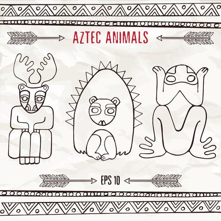 Dibujado A Mano Etnicos Azteca Animales Fantasticos Ciervos Erizo