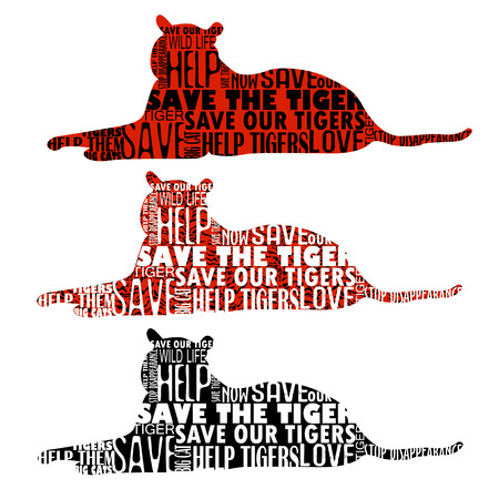 phrases: Set of five big cats or tiger silhouettes with random words and phrases in shape. Save the tigers.