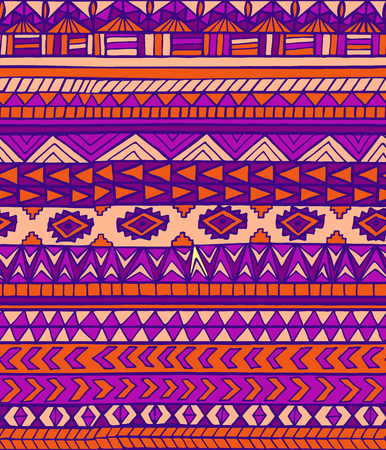 toltec: Hand drawn ethnic geometric seamless pattern. Aztec or tribal style pattern with triangle, square and line in purple colors Illustration