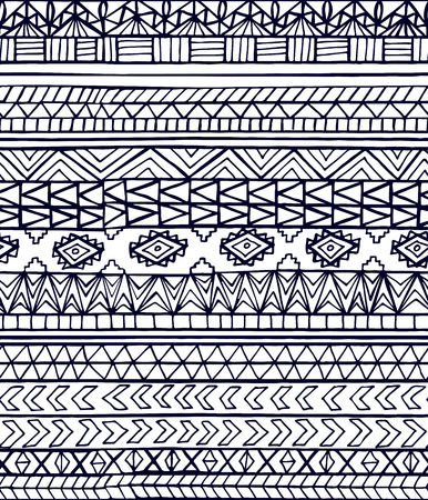 Hand drawn ethnic geometric seamless pattern. Aztec or tribal style pattern with triangle, square and line in black color on transparent background