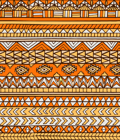 toltec: Hand drawn ethnic geometric seamless pattern. Aztec or tribal style pattern with triangle, square and line in beige and orange colors