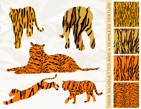 siberian tiger: Set of five big cats or tiger silhouettes with four seamless animal texture, isolated on white background