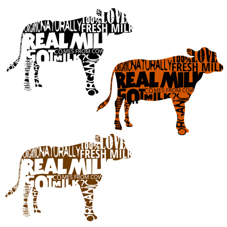 phrases: Set of cow silhouettes with random words and phrases in shape. Real and natural milk.