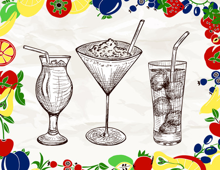 tubule: Hand drawn set of alcoholic cocktails with cartoon colored fruits, ice and tubule in sketch style on vintage paper background. Vector illustration Illustration