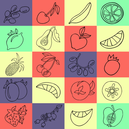 passion ecology: Hand drawn collection of cartoon black fruits in doodle lines style on colorful squares background
