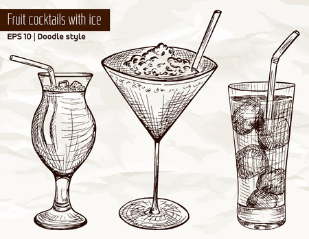 tubule: Hand drawn set of alcoholic or fruit cocktails with ice and tubule in sketch style on vintage paper background. Vector illustration