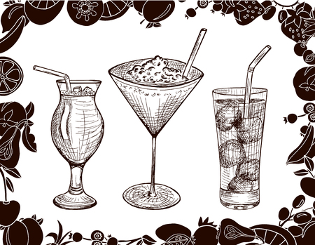 tubule: Hand drawn set of alcoholic cocktails with cartoon fruits, ice and tubule in sketch style on white background in brown colors. Vector illustration Illustration