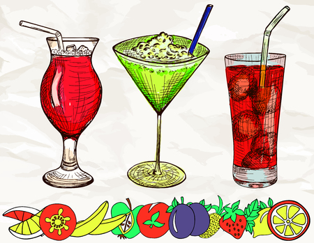 tubule: Hand drawn colored set of alcoholic cocktails with cartoon fruits, ice and tubule in sketch style on vintage paper background. Vector illustration