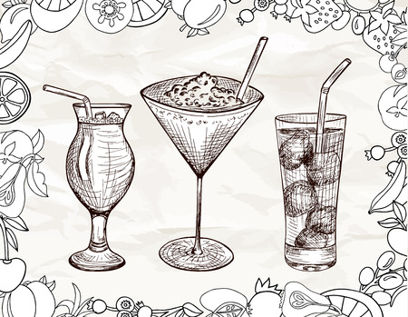 tubule: Hand drawn set of alcoholic cocktails with cartoon fruits, ice and tubule in sketch style on vitage paper background in brown and white colors. Vector illustration Illustration