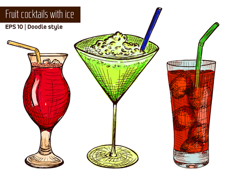 tubule: Hand drawn colored set of alcoholic or fruit cocktails with ice and tubule in sketch style isolated on white background. Vector illustration Illustration