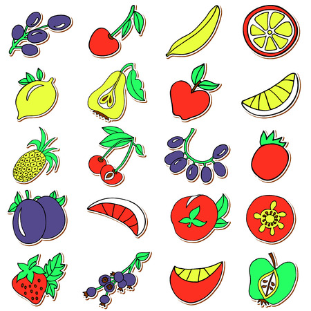 passion ecology: Hand drawn collection of cartoon colorful fruits in doodle style with with white border and brown shadow Illustration