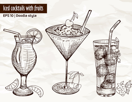 cocktail drinks: Hand drawn set of alcoholic cocktails with fruits, berries, ice and tubule in sketch style on vintage paper background. Vector illustration