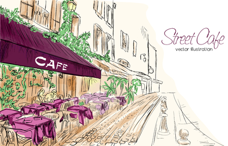 Colorful vector illustration of street cafe in modern city in purple, green and beige colors Illusztráció