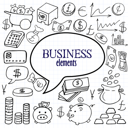 Main dessiné argent, or, boîte et d'affaires ensemble d'icônes sur des carrés de papier de fond Vecteurs