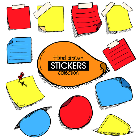 paper pin: Set of hand drawn frames or stickers paper with pin and scoth tape in doodle style in random colors Illustration