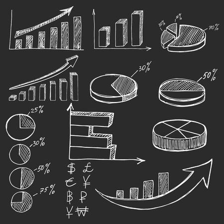 graficas de pastel: Dibujado a mano infografías negocio elementos de finanzas en el fondo negro o pizarra Vectores