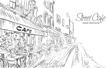 actual: Vector illustration of street cafe in modern city in doodle style