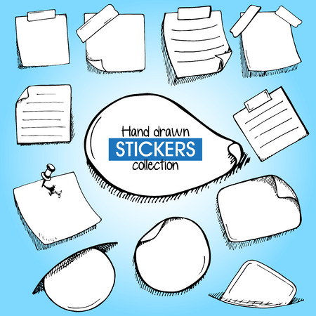 scotch: Set of hand drawn frames or stickers paper with pin and scoth tape in doodle style on blue gradient background Illustration