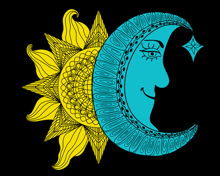 morning night: Shining yellow sun and blue moon cartoon illustration, a balance harmony icon of day and night on black background