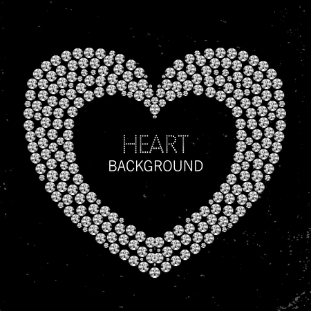 coeur diamant: Heart frame made of diamonds or rhinestones on black grunge background Illustration