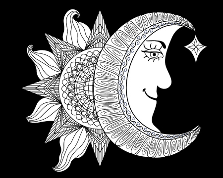 etched: Cartoon illustration of a sun, moon with human face. Outlines are solid black with a white background for coloring book or print.