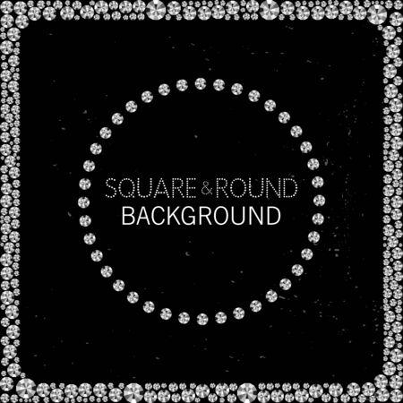 rhinestones: Round and square frame made of diamonds or rhinestones on black grunge background