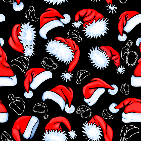 red hat: Colorful seamless pattern with red and contour santa hats on black background, for your christmas design