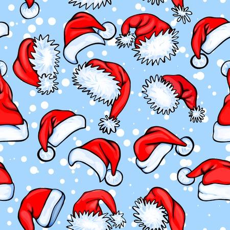 サンタの赤い帽子とクリスマス デザインのため、青の背景に雪でカラフルなシームレス パターン  イラスト・ベクター素材