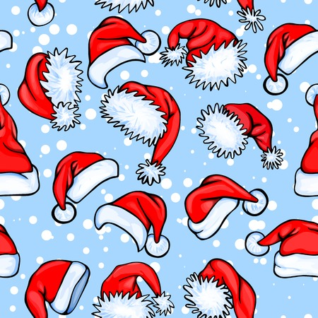Colorful seamless pattern with red santa hats and snow on blue background, for your christmas design Illustration