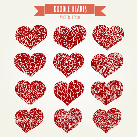 twelve: Set of twelve doodle hearts in ornament silhouette style for your romantic design in red colors. Vector illustration.