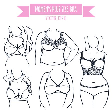 Different types of bra for women plus size, hand drawn icons in contour sketch style