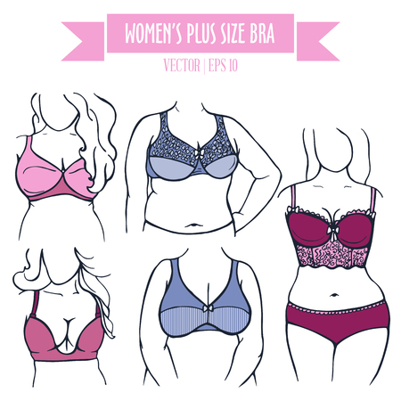 plus size: Different types of bra for women plus size, hand drawn icons in contour colored sketch style