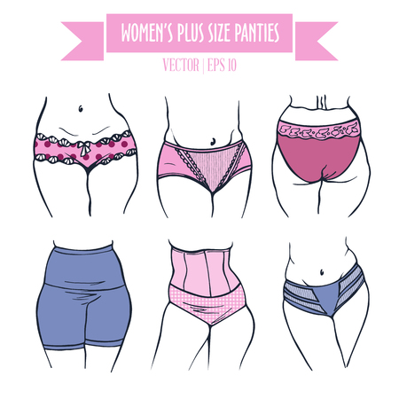 plus size: Different types of panties for women plus size, hand drawn icons in contour colored sketch style