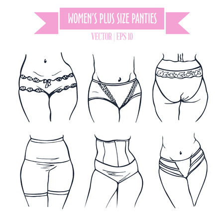 plus size: Different types of panties for women plus size, hand drawn icons in contour sketch style