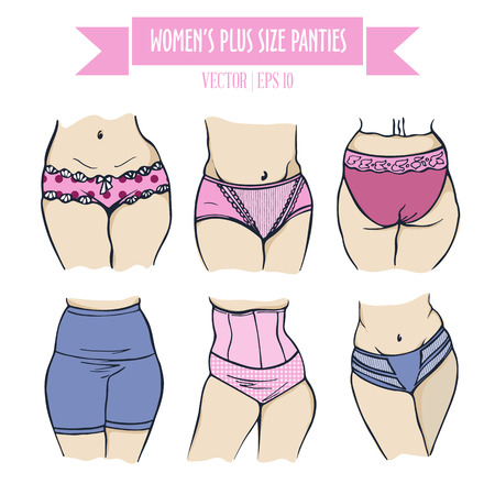 plus size: Different types of panties for women plus size, colored hand drawn lingerie and bright skin