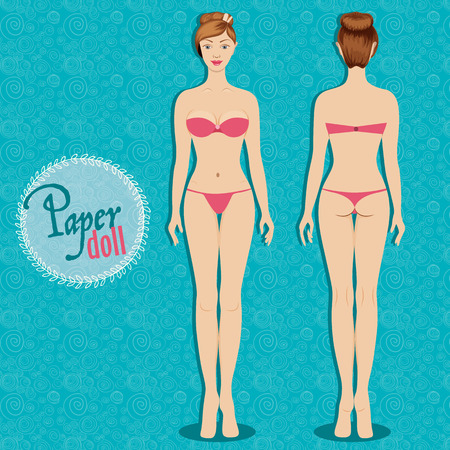 proportion: Beautiful dress up paper doll, front and back Body template