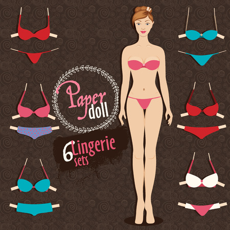 fixing: Beautiful dress up paper doll, front Body template and six colorful lingerie sets with fixing stripes Illustration