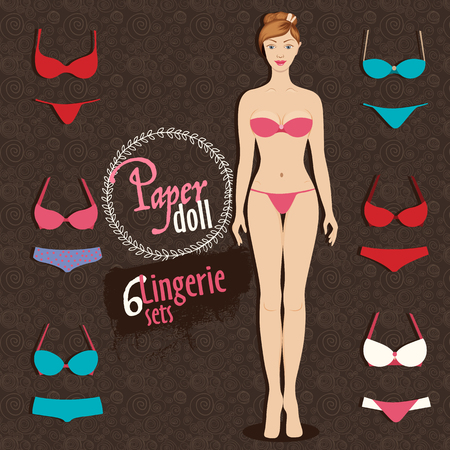 dress up: Beautiful dress up paper doll, front Body template and six colorful lingerie sets