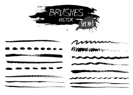 useful: Set three of grunge vector hand made ink strokes or brushes. Useful design elements for your projects