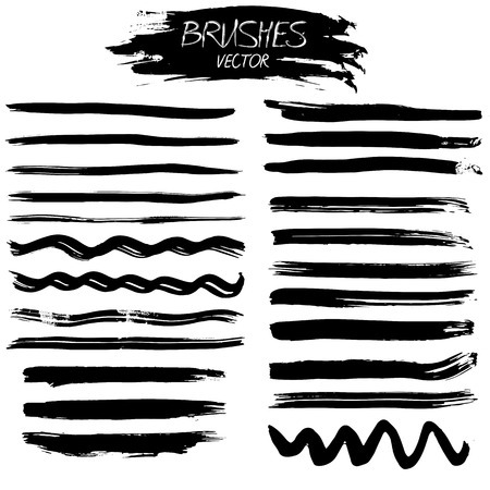 useful: A set of grunge vector hand made ink strokes or brushes. Useful design elements for your projects